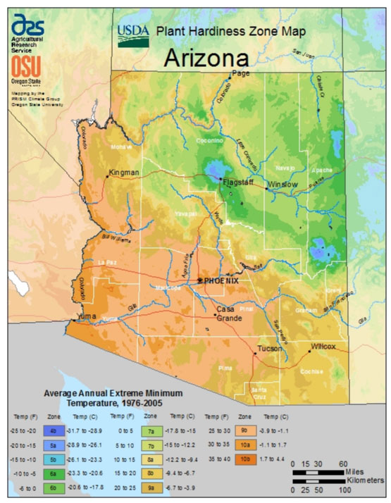 Arizona Zone Hardiness Map