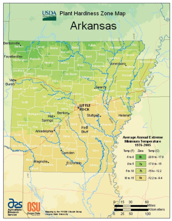 Arkansas Zone Hardiness Map