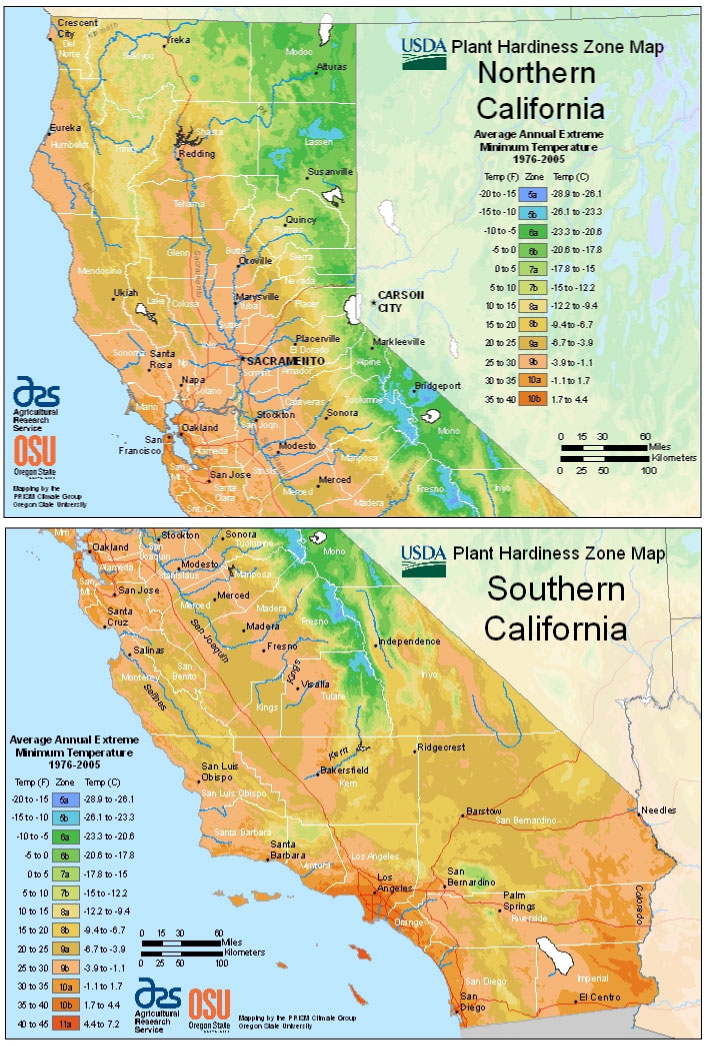 California Zone Hardiness Map