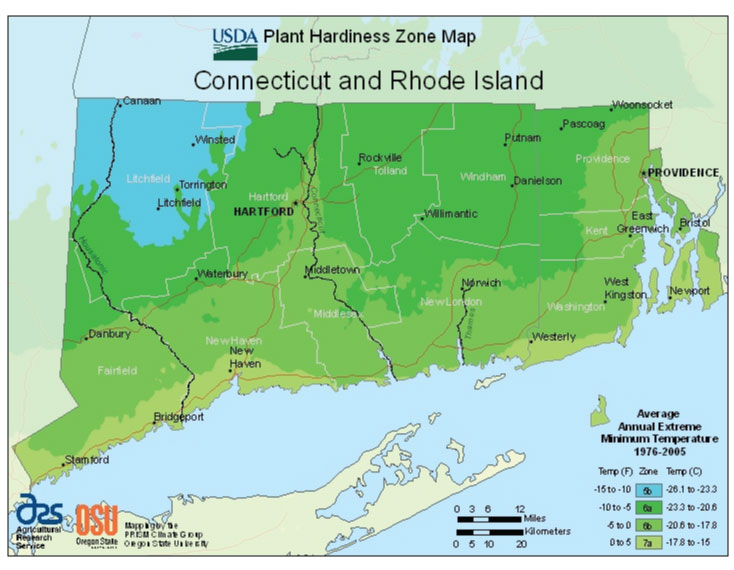 Connecticut Zone Hardiness Map