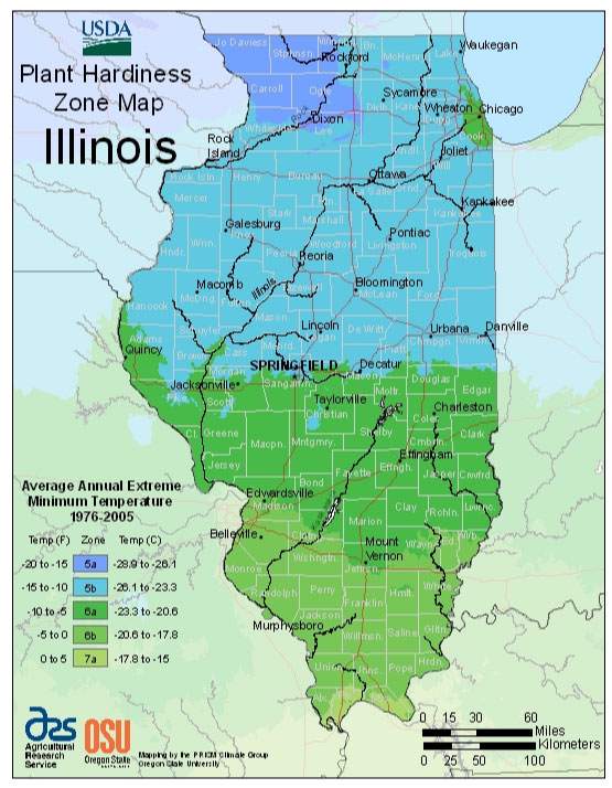 Illinois Zone Hardiness Map