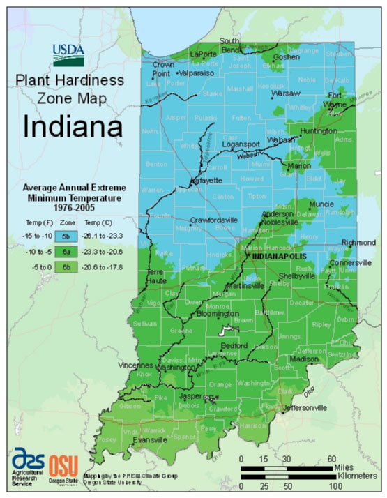 Indiana Zone Hardiness Map