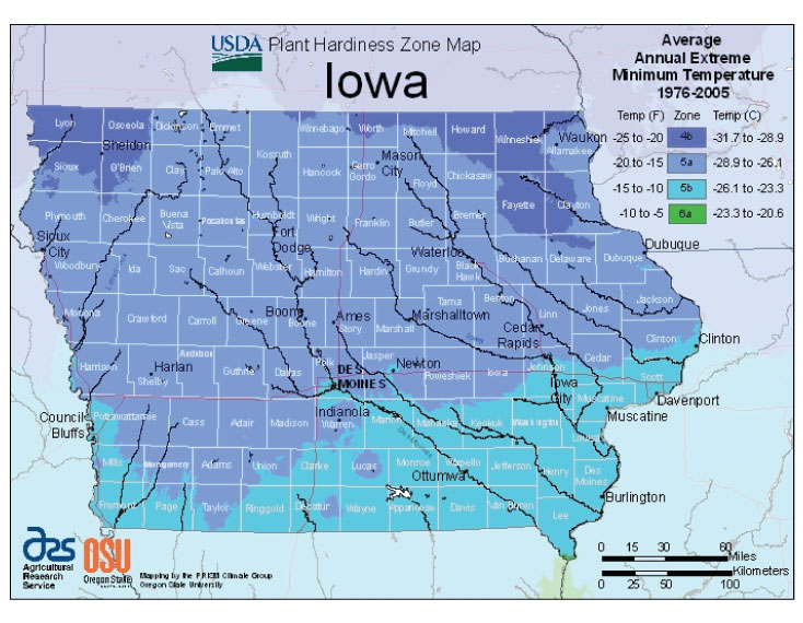 Iowa Zone Hardiness Map