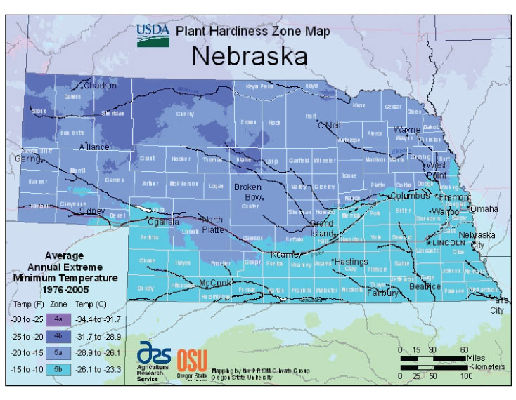 Nebraska Zone Hardiness Map