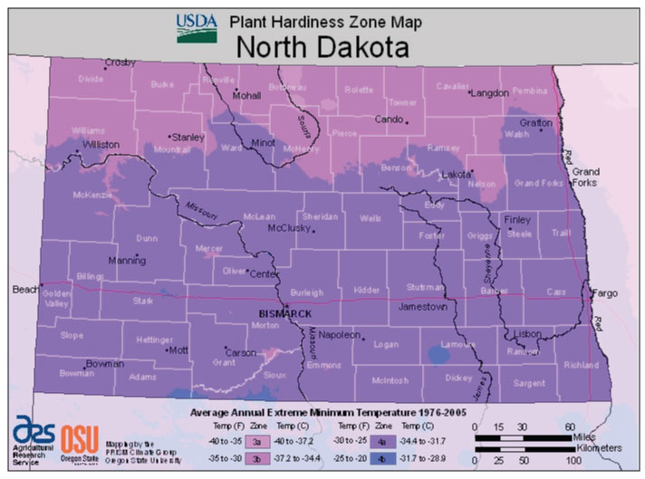North Dakota Zone Hardiness Map