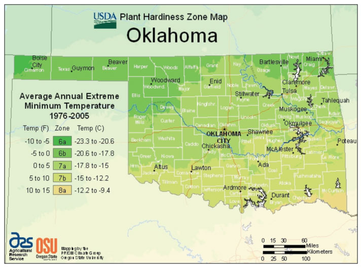 Oklahoma Zone Hardiness Map