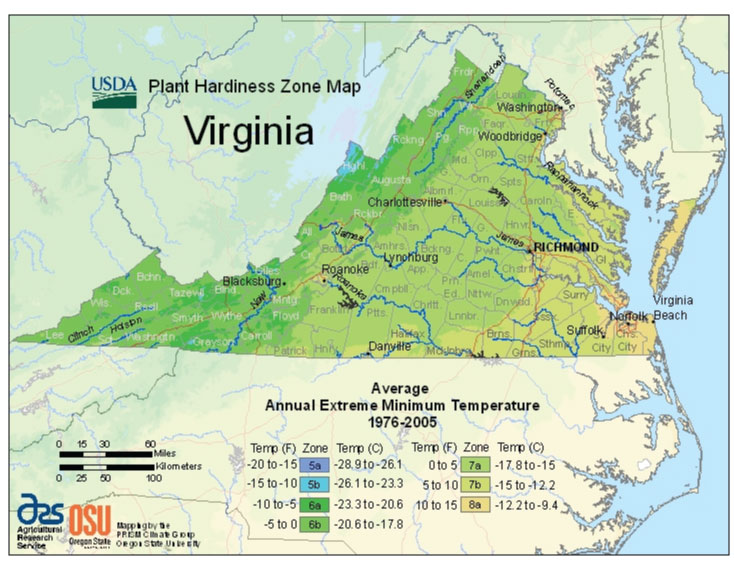 Virginia Zone Hardiness Map