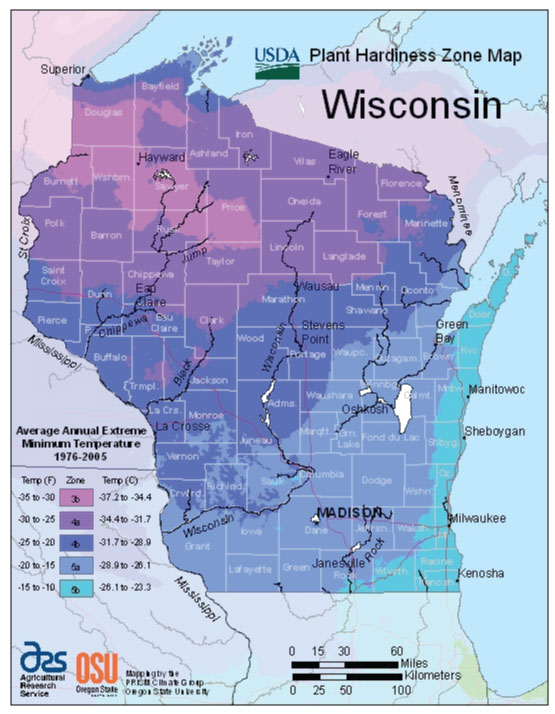 Wisconsin Zone Hardiness Map