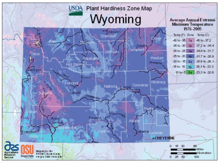 Wyoming Zone Hardiness Map